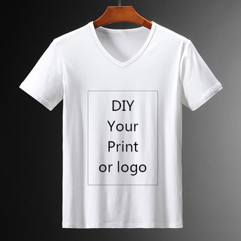 Customized Print V-neck T Shirt for Men DIY Your Like Photo or Logo White Top Tees Women's and Men's Clothes Modal T Shirt image