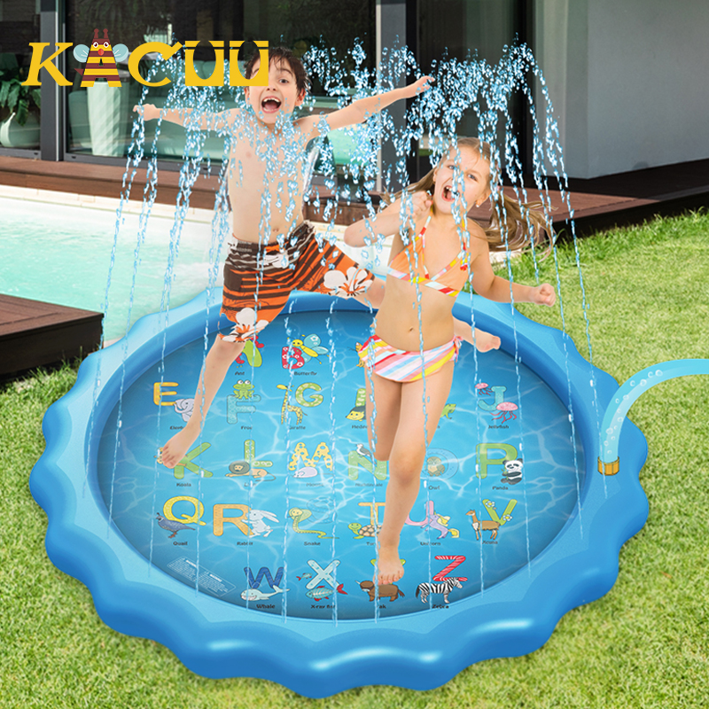 170cm Kids Play Water Mat Inflatable Spray Water Cushion Summer Lawn Games Pad Sprinkler Play Water Toy Outdoor Tub Swiming Pool