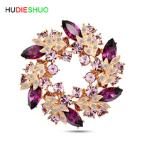 HUDIESHUO Purple Green High end luxury suit and evening dress crystal brooch pin accessories