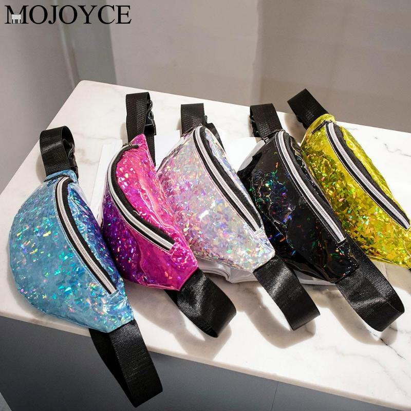 Sports Fashion Women Sequins Waist Packs PU Leather Shoulder Chest Bags Laser Chest Bags Girls Phone Pouch Kids Fanny Packs
