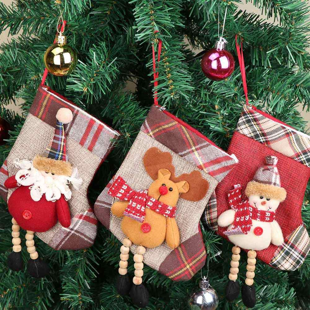 OurWarm Plaid Christmas Stocking Mini Sock Santa Claus Candy Gift Bag Xmas Tree Hanging Ornaments New Year Christmas Decoration