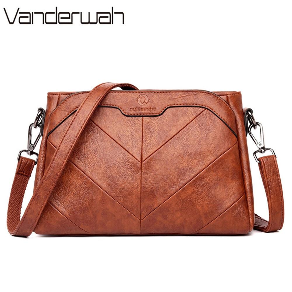 Vintage Leather Luxury Handbags Women Bags Designer Women Messenger Bags Female Shoulder Bags For Women 2019 Sac A Main Femme