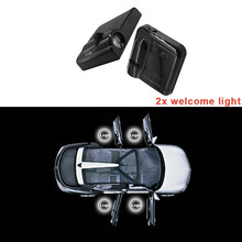 Farol de led para renault megane laguna koleos, 2 peças, twingo clio, scenic car logo, sombra, projetor de lâmpadas, porta do carro, bem-vindo luz automática