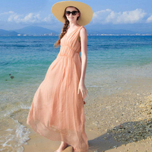 Women 100 Silk dress Beach dress 100% Natural Silk Fairy Pink dress V-neck Holiday summer dresses Hot Free Shipping цены