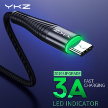 YKZ LED 3A USB Type C Cable Fast Charge Wire Type-C for Samsung Galaxy Xiaomi Huawei Mobile Phone USB C USB-C Cable Charger Cord