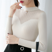 Sueter mujer invierno 2019 ladies sweater korean top Office Lady Turtleneck Pullovers Beading Solid black 0318