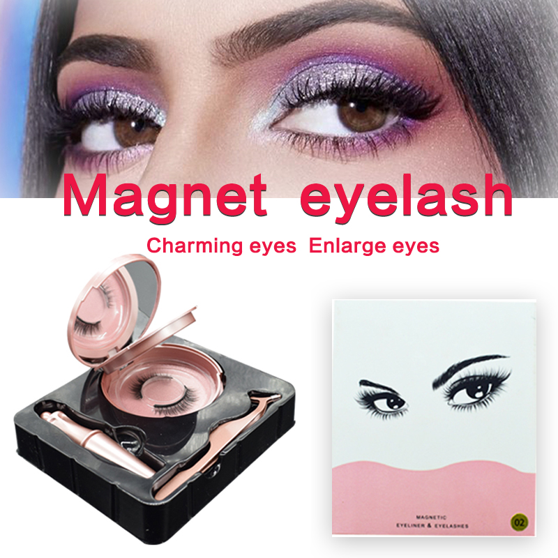 <font><b>Magnetic</b></font> False <font><b>Eyelashes</b></font> & <font><b>Magnetic</b></font> Liquid <font><b>Eyeliner</b></font> <font><b>Set</b></font> 2 Magnets Natural Fake <font><b>Eyelashes</b></font> Extension Waterproof Lasting Makeup Kit image