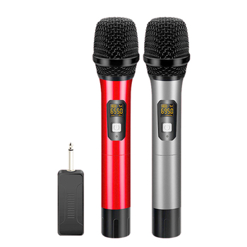 UHF Dual Handheld Wireless Microphone Dynamic System Set with Rechargeable Receiver, 1/4 Inch Plug, for Karaoke Party/PA Systems