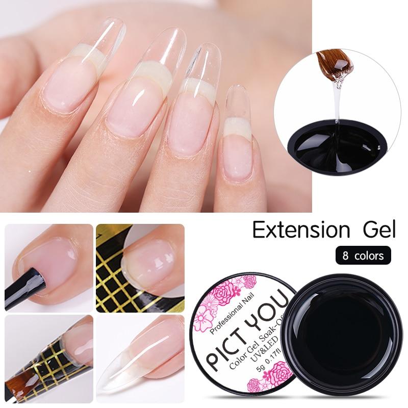 1 Box PICT YOU Nail Extension Gel Semi-transparent UV Building Gel Nail Finger Extension Natural Camouflage UV Gel  Led
