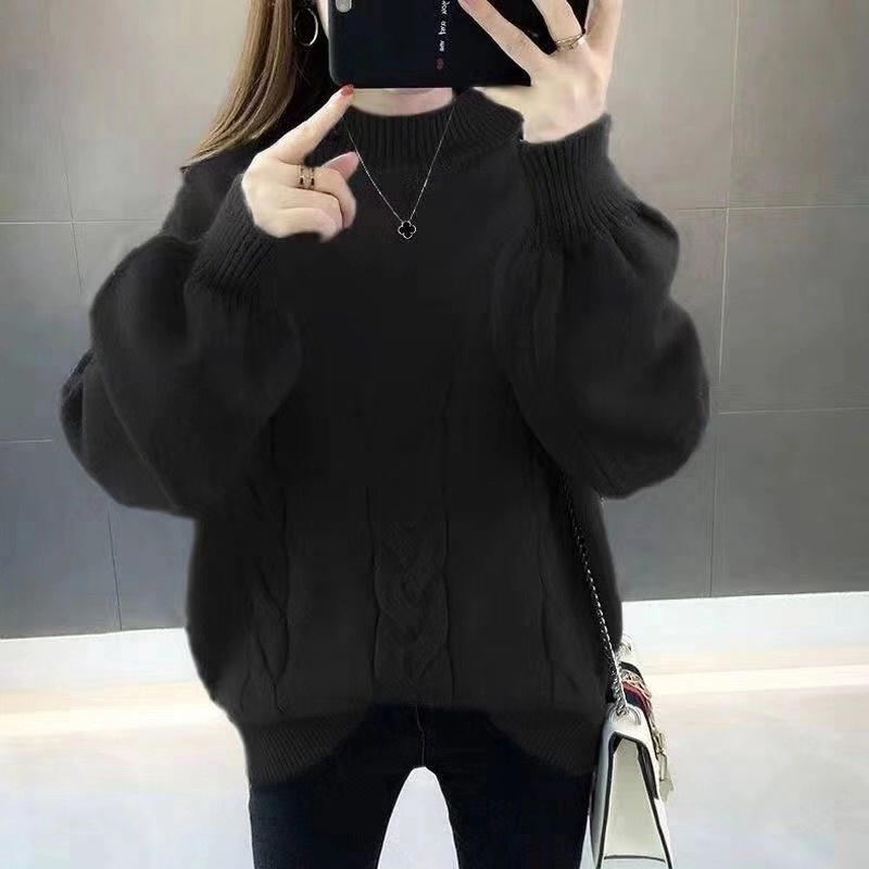 2019 Women's  Solid Color V-neck Sweater Europe And America Loose Large Size Sweater