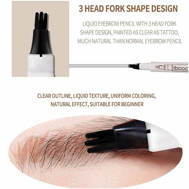 Microblading Eyebrow Pencil Waterproof Fork Tip Brow Eye Pen Long-lasting Professional Fine Sketch Liquid Tattoo Eyebrow Pencil 4