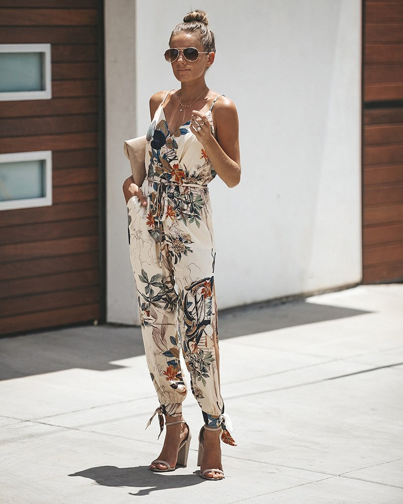 Women Tunic Floral Print Long Rompers Pockets V Neck Spaghetti Strap Overalls Backless Plus Size Jumpsuit