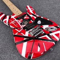 Kram-guitarra eléctrica, instrumento de cuerda, Kram, Eddie Van Halen, a rayas rojas y negras, Envío Gratis, novedad de 2021