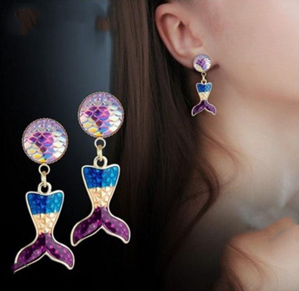 Уникальные серьги для девочек, рыбий хвост, висячие серьги-гвоздики, женские свадебные украшения, подарки, стильные украшения для девушек, ...