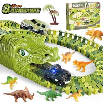 Dinosaurier Eisenbahn Spielzeugauto Rennstrecke Spielzeug Set pädagogische Kurve flexible Rennstrecke Blitzlicht Autospielzeug für Kinder Jungen