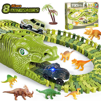 Dinosaur rail toy car track racing track set set εκπαιδευτική καμπύλη εύκαμπτη πίστα αγώνων flash light car παιχνίδια για παιδιά αγόρια