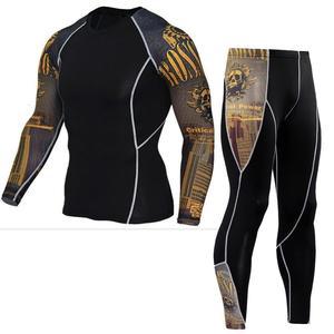 Image 3 - tactical mma rash guard long sleeves Mens fitness compression clothing tracksuit Men T shirt leggings Jogging suit Sport suit