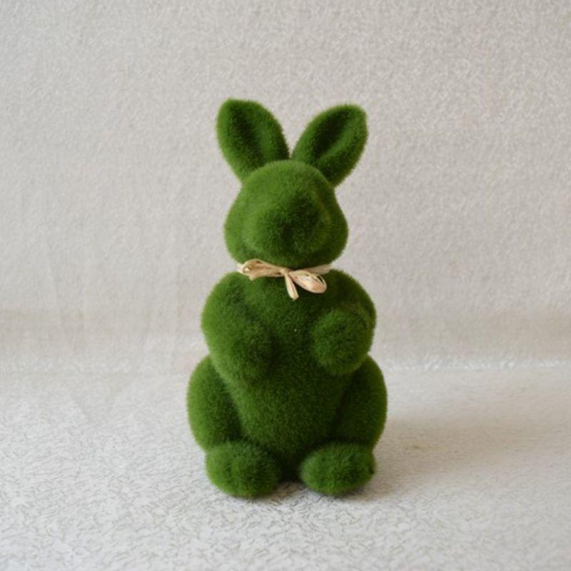 Lovely Handmade Moss Rabbit Artificial Turf Grass Easter Bunny Home Office Decor X7YD