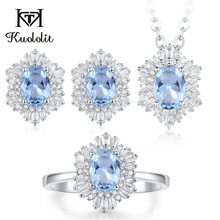 Kuololit Aquamarine London blue topaz Gemstone Jewelry Set for Women Solid 925 Sterling Silver Ring Earrings Necklace Morganite