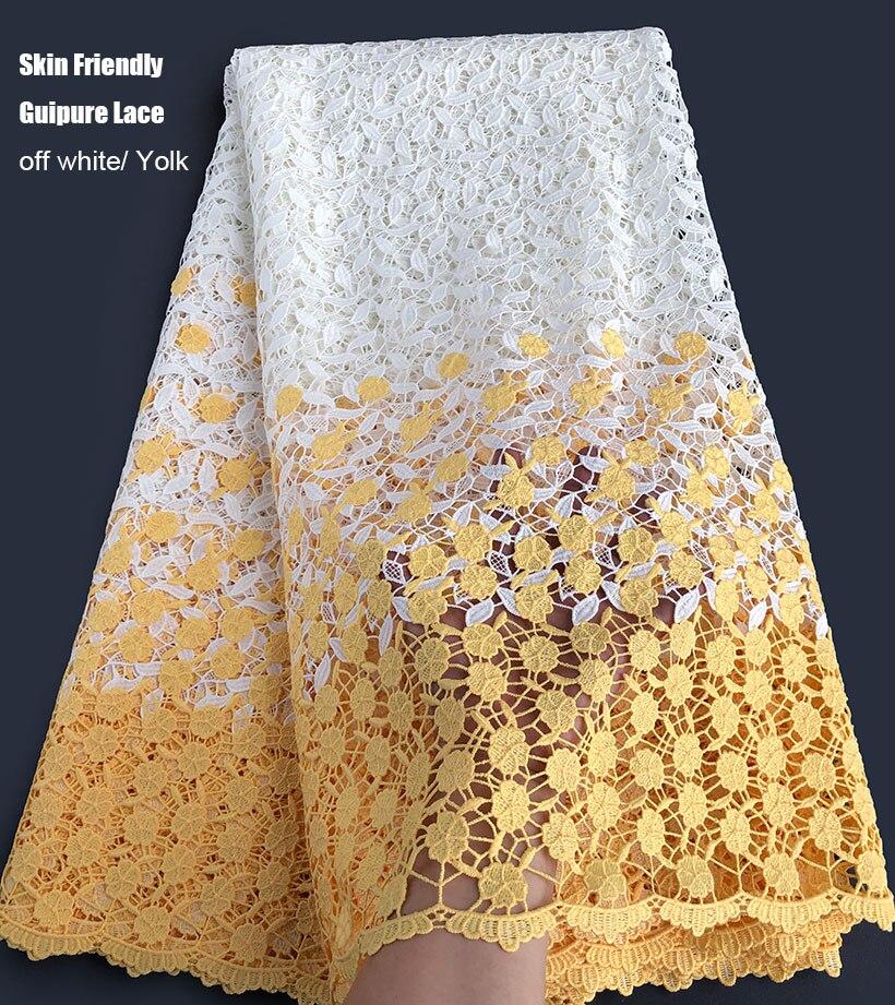 2 tunes super miękkie kwiatowy haft gipiury koronki bawełna przyjazna dla skóry Koronka z motywem afrykańskim tkaniny wysokiej jakości w Materiał od Dom i ogród na  Grupa 1