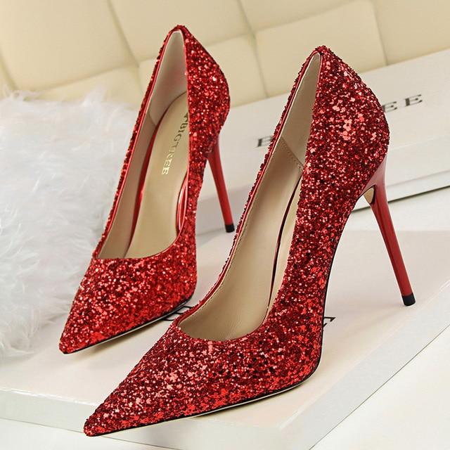 9.5cm High Heels Glitter Scarpins Pumps  5