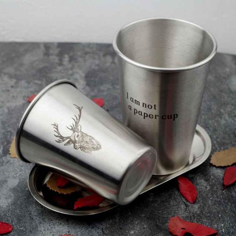 Nordic Stil Edelstahl Saft Bier Wasser Tasse Stapelbar Pint Tassen Saft Becher Kaffee Tasse Trinkbecher Zahnbürste Paar Tasse