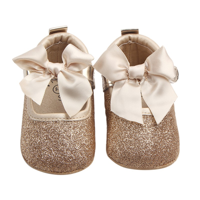 Baby Girls Butterfly-knot First Walking Infant Girls Princess Shoes Soft Sole First Walkers  Bling Bling Sliver Gold Baby Shoess