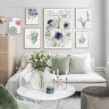 Акварельные зеленые растения цветы холст плакат минималистичное