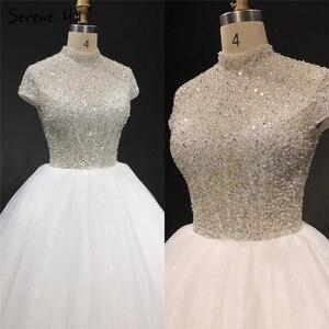 Image 4 - Branco brilho manga curta tule vestidos de casamento 2020 alta pescoço lantejoulas miçangas vestidos de noiva ha2280 feito sob encomenda