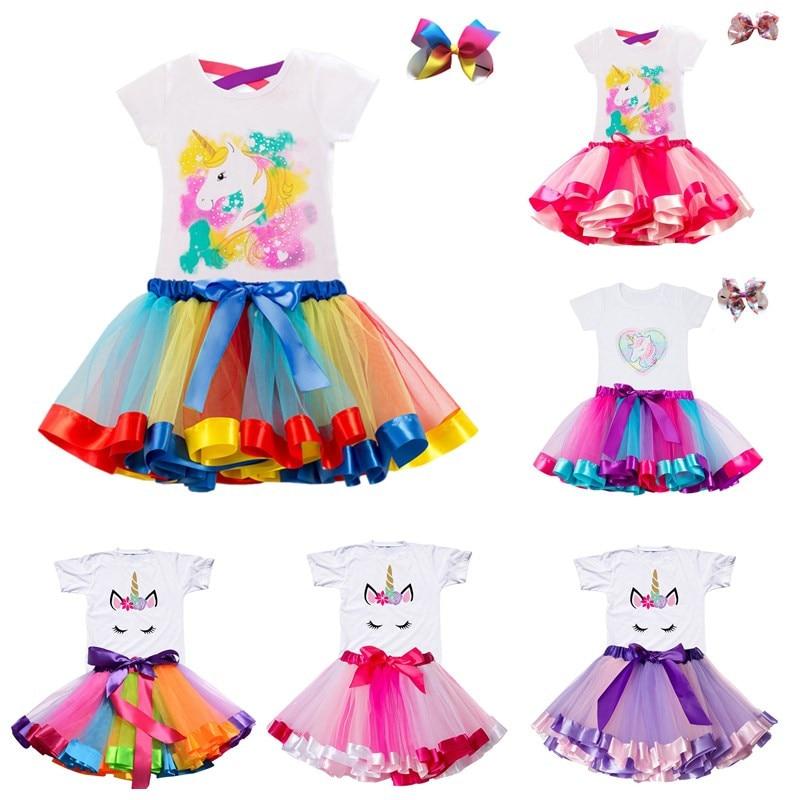 Vestido para meninas, vestido de aniversário; unicórnio do arco íris; vestidos infantis para meninas; 2, 3, 4, 5, 6 anos; roupa casual roupas de verão para meninas