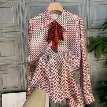 France style women's elegant bowtie long sleeves Shirts High quality print long sleeves women blouses tops C274 pink hollow design cold shoulder long sleeves blouses