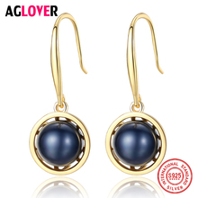 AGLOVER New Arrivals 925 Solid Silver 18K Gilt Pearl Earring Natural Freshwater Pearl Earrings For Women Jewelry Lady Gift Party