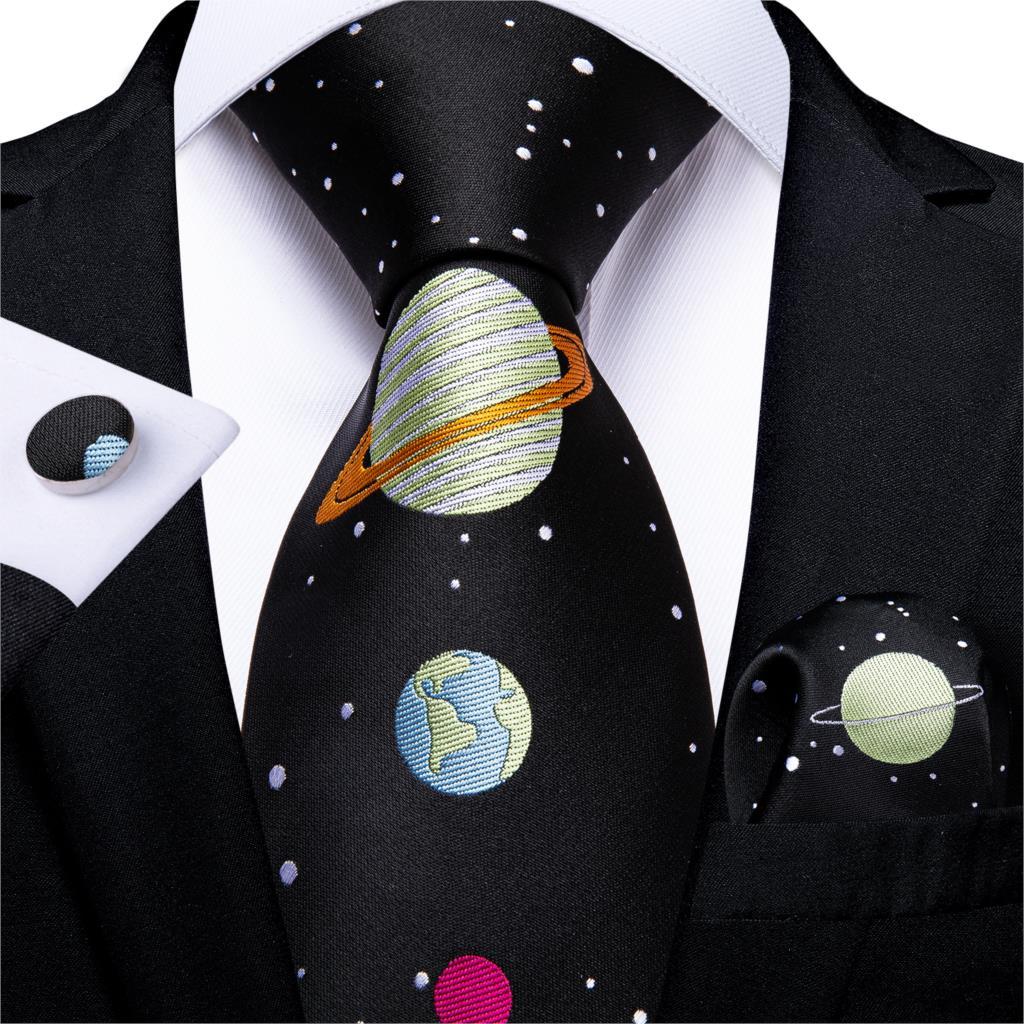 Men Tie Black Novelty Design Silk Wedding Tie For Men Handky Cufflink Gift Tie Set DiBanGu Party Business Fashion SJT-7346
