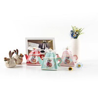 50 Pcs Royal Teapot Candy Boxes Mini Teapot Wedding Favor Boxes with Ribbons Wedding Birthday SLC88