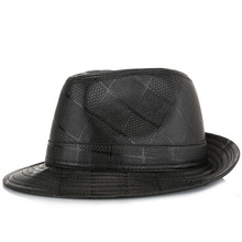 2020 New Style Adult Formal Men's Hat Checkered Pu Texture Outdoor Warm Comfortable Bell-Shaped Autumn And Winter Wear