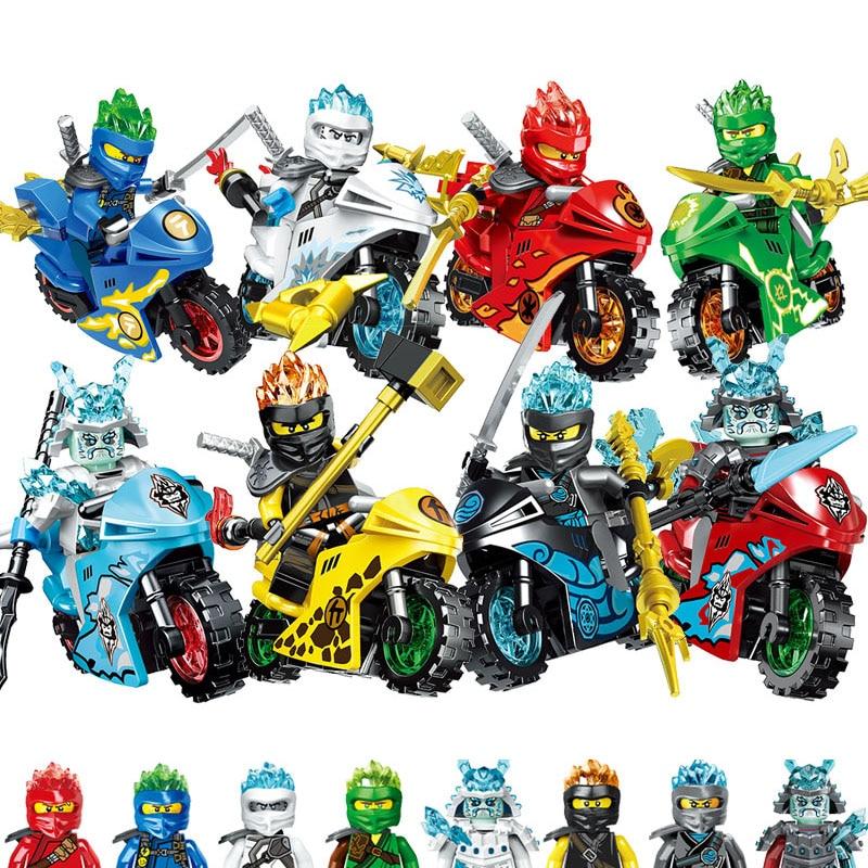 2019 8 pièces/lot Compatible NINJA moto héros Kai Jay Cole Zane Lloyd avec des armes jouet legoinglys NINJA Figure blocs