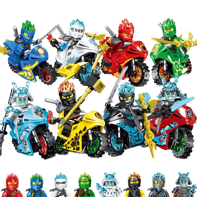 2019 8pcs/lot Compatible NINJA Motorcycle Heroes Kai Jay Cole Zane Lloyd With Weapons Toy Legoinglys Ninjagoingly Figure Blocks