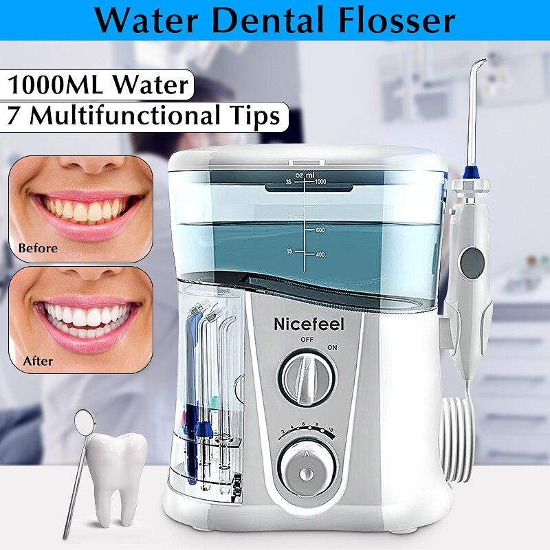 Limpiador Dental de agua de 1000ML de Nicefeel, irrigador bucal eléctrico, cepillo Dental de dientes de agua, SPA Dental con 7 Uds.