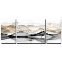 Free Shipping Abstract Gold Foil Design Handmade Oil Painting Mountain Scenery Oil Paintings Wall Art Canvas Decoration Artwork
