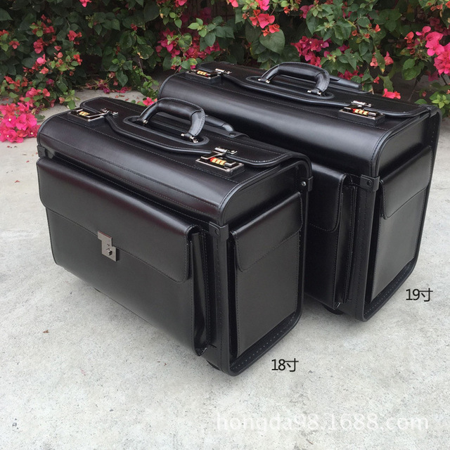 Genuine Leather pilot Rolling Luggage Cabin Airline stewardess Travel Bag Wheel Suitcases Business Trolley