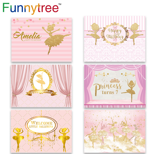 Funnytree photography photo zone ballerina first birthday photozone background party pink stripe dancer backdrop photophone