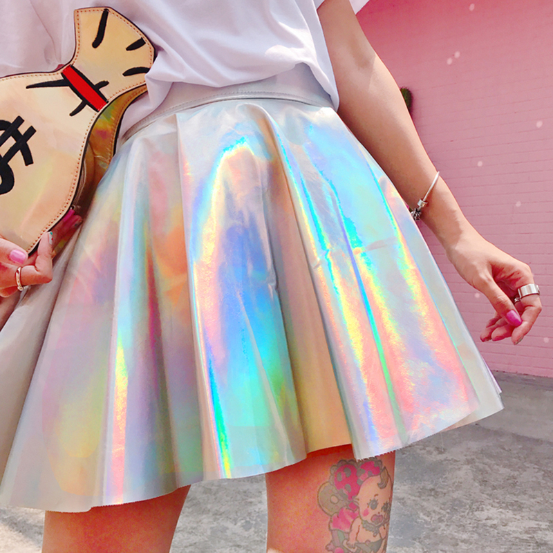 Ulzzang Shiny Fluorescent Metal Silver New Umbrella Skirt Sexy Psychedelic Harajuku Laser Personality High Waist Skirt Women