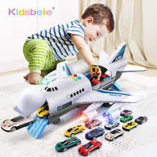 Kids Toys Simulation Track Inertia Airplane Music Stroy Light Plane Di