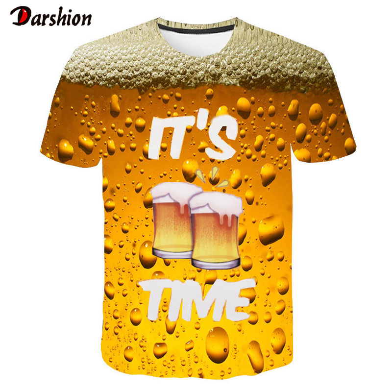 Summer Men 3D T-shirt Beer Time Short Sleeve O-Neck Fashion Funny 3D Printed T Shirt Casual Men Tops Tees Streetwear Tshirt