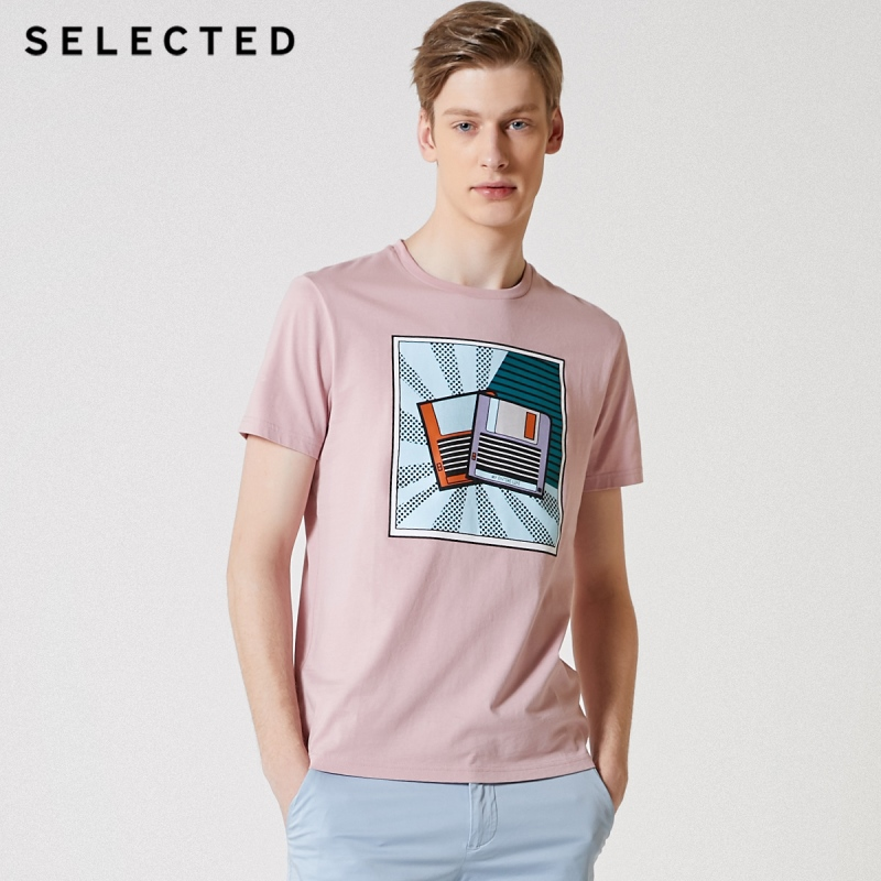 SELECTED Men's Cotton Cartoon Pattern Short-sleeved T-shirt S|419201623