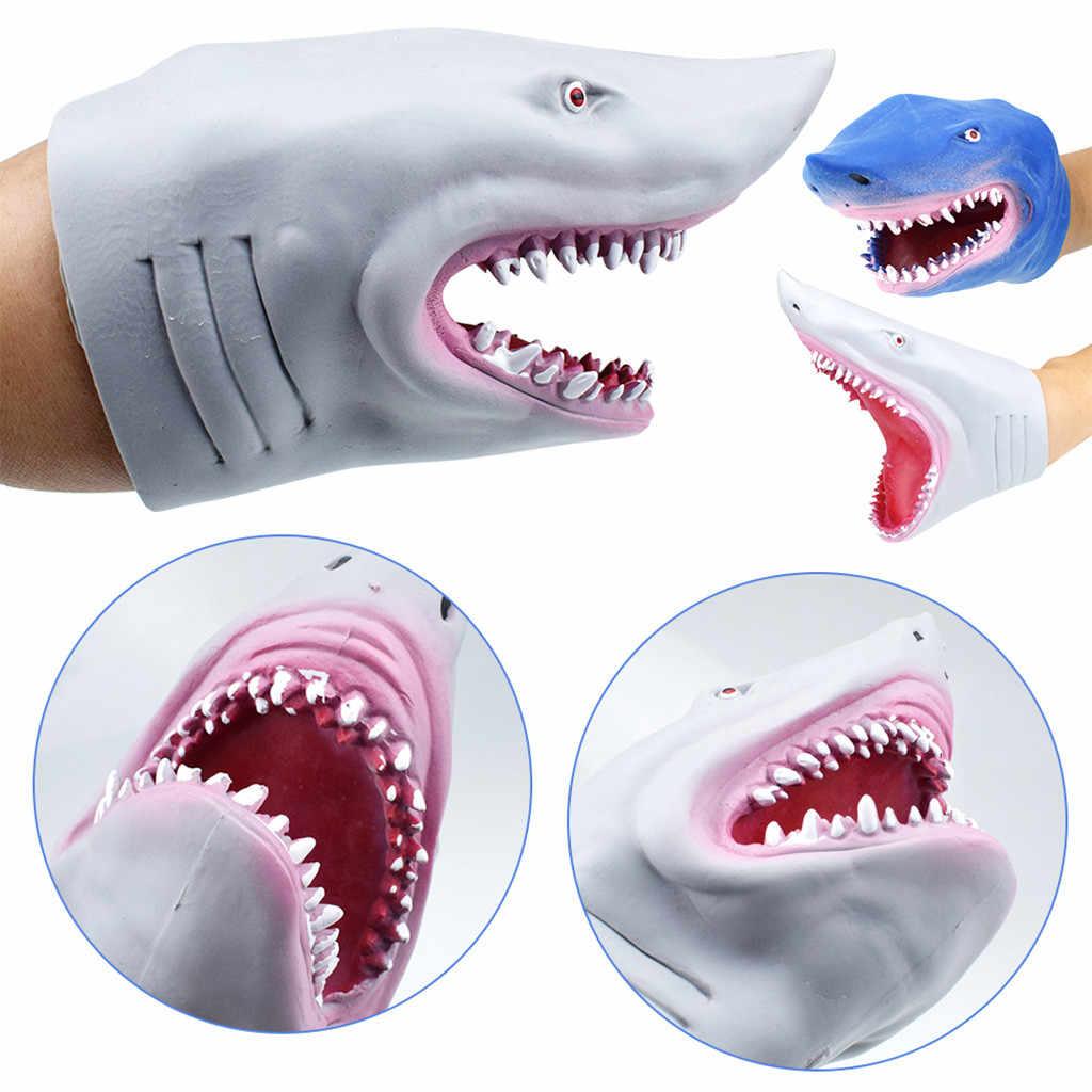 New Soft TPR ยาง Carcharadon หุ่นมือของเล่นตุ๊กตาการเล่าเรื่อง Shark สัตว์หัวถุงมือของเล่นสำหรับของขวัญเด็ก