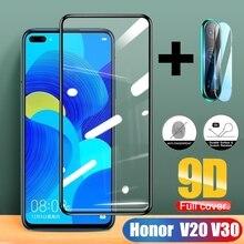 2 in 1 Full Cover 9D Tempered Glass for Huawei honor V20 V30 Screen Protector film 2 in 1 full cover 9d tempered glass for huawei honor v30 v30 pro v20 screen protector