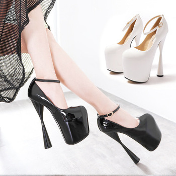 Hot sale patent leather women's high-heeled shoes 19cm wedding shoes thick-soled pole dance club ladies pumps large size 34-43