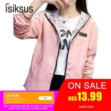 Isiksus Black Windbreak Jacket Women Long Sleeve Hooded Coats Spring Autumn Casual Solid Zip Up Basic Jackets for Women WJ020 цена и фото