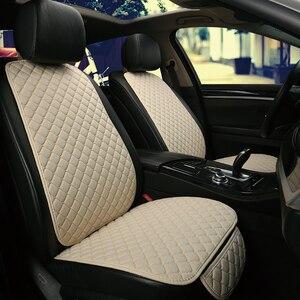 Image 5 - להתחמם בחורף מכונית פשתן מושב כיסוי מגן קדמי או אחורי מושב כרית כרית כרית חזרה אביזרי רכב מתאים עבור כל